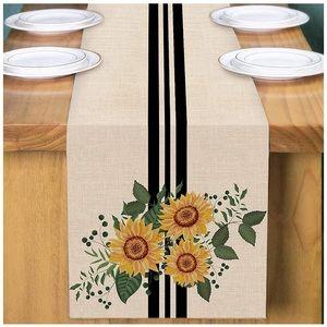 """Sunflower Table Runner Black Stripe 13 X 72"""""""